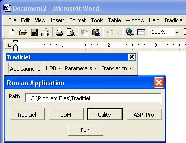 An example of Application Launcher from within MS Word